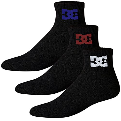 DC Shoes Herren Sportsocken 3er Pack, Quarter Socken, Schwarz, Einheitsgröße EU 40-45, Swift-Dry Technology (Schwarz Dc-socken)