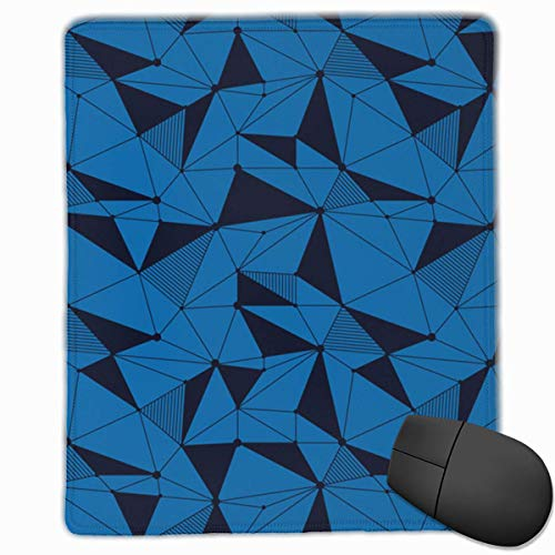 Blue Geometric Line Pattern Rectangle Non-Slip Rubber Mouse Pad with Stitched Edges -
