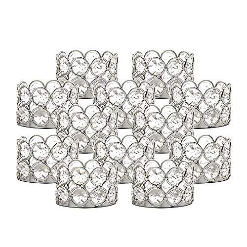 VINCIGANT Kristall Teelicht Kerzenständer Silber, Geschenke für Hochzeitstag, Dekoration für Tabellen, Geburtstags-Ausgangsverzierungen