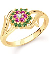 VK Jewels Flowery Dreams Gold And Rhodium Plated Alloy Ring For Women & Girls Made With Cubic Zirconia - FR1781G...