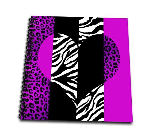 3dRose DB 35435_ 1lila schwarz und weiß Animal Zebra Print-Leopard und Heart-Drawing Buch, 8von 20,3cm Animal Print Sticker