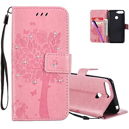 COTDINFOR Huawei Y6 2018 Hülle für Mädchen Elegant Retro Premium PU Lederhülle Handy Tasche mit Magnet Standfunktion Schutz Etui für Huawei Y6 2018 / Honor 7A Pink Wishing Tree with Diamond KT.