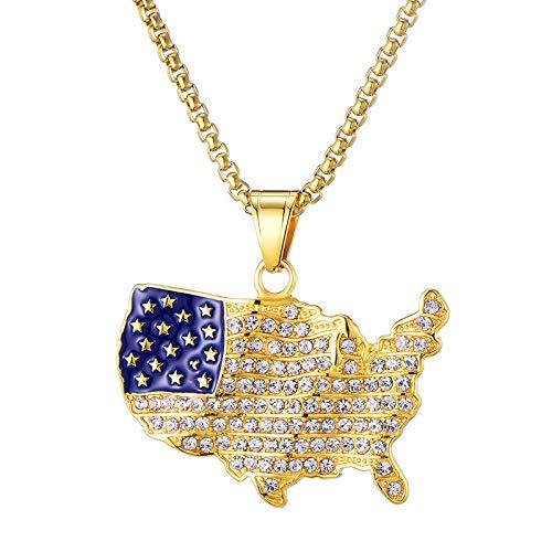 e Iced Out amerikanische Flagge Karte Anhänger Halskette Edelstahl Schmuck,Gold ()