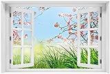 Wallario Acrylglasbild mit Fenster-Illusion: Motiv Kirschblütenzweige und grüne Wiese- Frühling - 60 x 90 cm mit Fensterrahmen in Premium-Qualität: Brillante Farben, freischwebende Optik