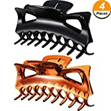 4 Pieces 11 cm Plastic Large Hair Claw Clips Women Thick Hair Claw Clamps 4.33 Inches (Black and Brown)