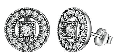 SaySure- 925 Sterling Silver Vintage Allure Clear CZ Stud Earrings