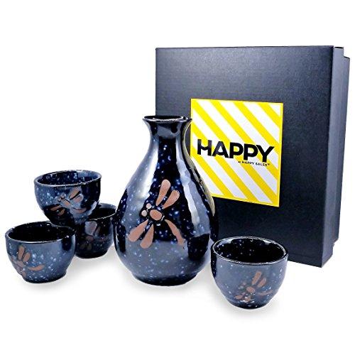 Happy Sales HSSS-BDFC27, 5 pc Sake set Blue Dragonfly Round by Happy Sales -