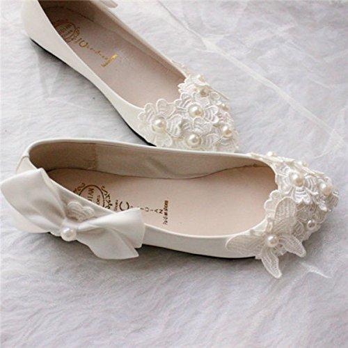 JINGXINSTORE Scarpe da sposa da sposa fatte a mano in pizzo bianco perlato bianca