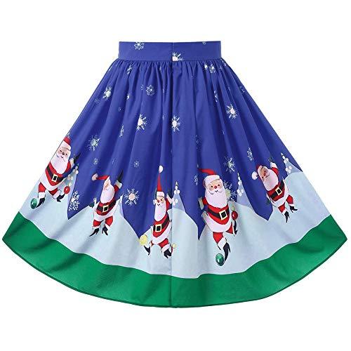 (Weihnachten Kleid,Marlene Frauen Sexy Christmas Santa Printed Swing Performance Reißverschluss A-Line Loose Rock)