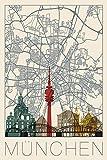 Artland Qualitätsbilder I Alu Dibond Bilder Alu Art Städte Deutschland München Digitale Kunst Creme E2PB Retro Karte München Deutschland und Skyline