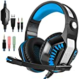 Gaming Headset, Tophie® GM-2 Over-Ear Stereo Kopfhörer mit Mikrofon und LED Licht für Xbox One PS4 PC Computer Tablet Mobile Phone (Blau)
