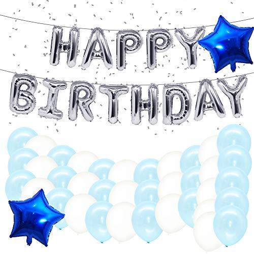 VICKSONGS Luftballon Geburtstag Set, Luftballon Happy Birthday Ballons, Folienballon Stern Luftballon Konfetti Latex Ballons für Mädchen Kinder Baby Party Deko - Blau