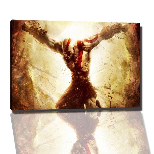 God of War Bild auf Leinwand -- 100 x 70 cm fertig gerahmte Kunstdruckbilder als Wandbild - Billiger als Ölbild oder Gemälde - KEIN Poster oder Plakat