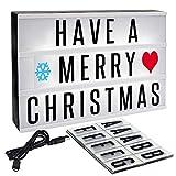 Caja Luminosa de Cinema - Señal luminosa con 165 Letras Negras y de Colores - A4 tamaño personaliza propio mensaje luz con usb cable - símbolos, emojis, emoticonos - Ideal para Navidad Regalo
