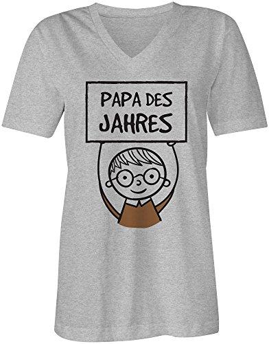Papa des Jahres ★ V-Neck T-Shirt Frauen-Damen ★ hochwertig bedruckt mit lustigem Spruch ★ Die perfekte Geschenk-Idee (05) grau-meliert
