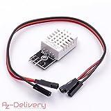 AZDelivery ⭐⭐⭐⭐⭐ DHT22 AM2302 Temperatursensor und Luftfeuchtigkeitssensor mit Platine und Kabel für Arduino mit gratis eBook!