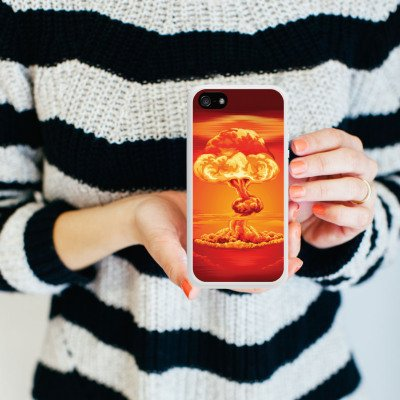 Apple iPhone 5s Housse Étui Protection Coque Explosion Guerre Champignon nucléaire Housse en silicone blanc