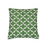 HWY 50 - Funda de cojín de una sola pieza (algodón, bordado, 18x 45,72cm), diseño de flores, algodón, Verde, 45×45CM