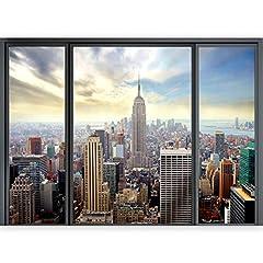 Idea Regalo - murando - 3D ILLUSIONE OTTICA | 140x100 cm 3D ILLUSIONE OTTICA | Carta da parati sulla fliselina | Hit | Carta da parati in TNT | Quadri murali | Fotomurale | Finestra Citta City New York Panorama
