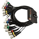 Macho XLR 3m 8 vías a Hembra XLR Loom Balanceado / Patch Efectos / Cable Núcleo Múlti
