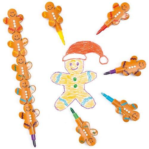 Baker Ross Gingerbread Man Pop-A-Crayon Perfect Stocking Filler for Children (Pack of 4)