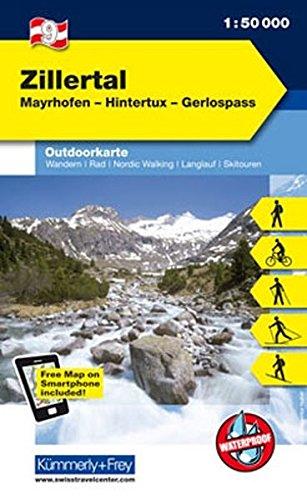Zillertal Outdoorkarte Österreich Nr. 09: Mayrhofer, Hintertux, Gerlospass, 1:50 000, Freemap on Smartphone included (Kümmerly+Frey Outdoorkarten Österreich)