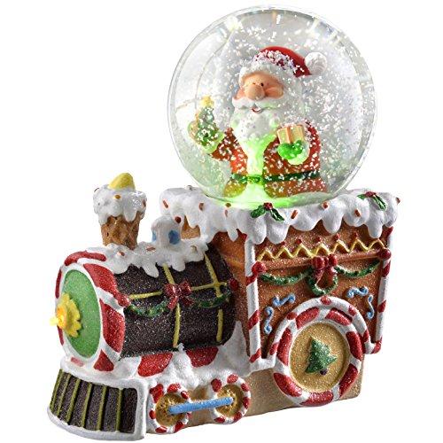 Werchristmas-palla di vetro con neve e babbo natale sul treno cambia di natale, in plastica, colore: multicolore, 16 cm