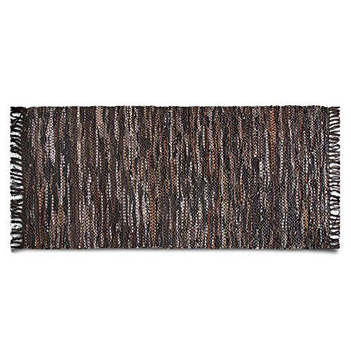 Lederteppich Oxford | handgewebter Teppich aus Recycling Leder | viele Größen | braun | 140x200 cm Gewebte Leder-teppich