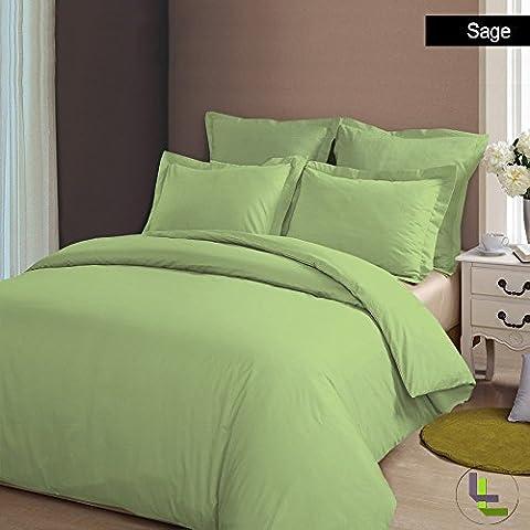 Marca Juego de funda de edredón para cama único 400TC Sage Sólido UK pequeña doble 100% algodón egipcio–por TRP hojas–A7