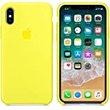 AIWE Newest Coque iPhone X/10 Coque Silicone Liquide Ultra-Mince Anti-Rayure, Housse Protection Silicone Anti-Patinage Gel Case iPhone X/10 (iPhone X, Jaune Flashy)