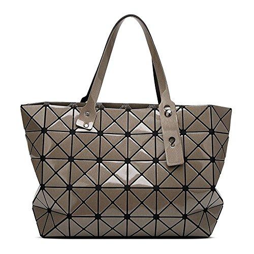 Strawberryer Sacs à bandoulière en cuir femmes Sacs à main géométriques Pliage en sac fourre-tout,B-43*28*10.6cm