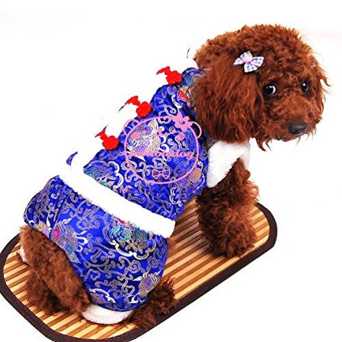 Vierbeinigen Kostüm - smalllee_lucky_store Kleinen Dog Flower Print chinesischen Tang Kostüm vierbeinigen Jumpsuit, Blau, Medium