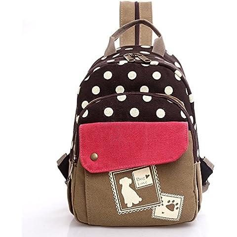 freemaster Fashion Teenage Las niñas mochila hombro Sling Pecho Bolsa de lona cuerpo de cruz bolso de escuela Satchel Mochila Pequeña Negro café
