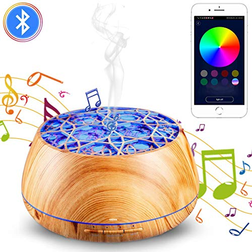 Aroma Diffusor 400ml, GXZOCK LED Diffuser - Musikfunktion einfach genial Aromatherapie/Luftbefeuchter, APP-Steuerung, Nachtlicht, Aromatherapie Maschine, Raumbefeuchter für, Yoga, Spa