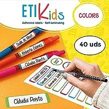 ETIKIDS 40 Etiquetas adhesivas laminadas personalizables (color) para objetos excepto ropa para la guardería