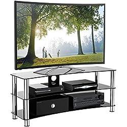 1home Curbe Meuble TV en Verre de Sécurité Noir aux Ecrans 32-70inch, Largeur de 120cm