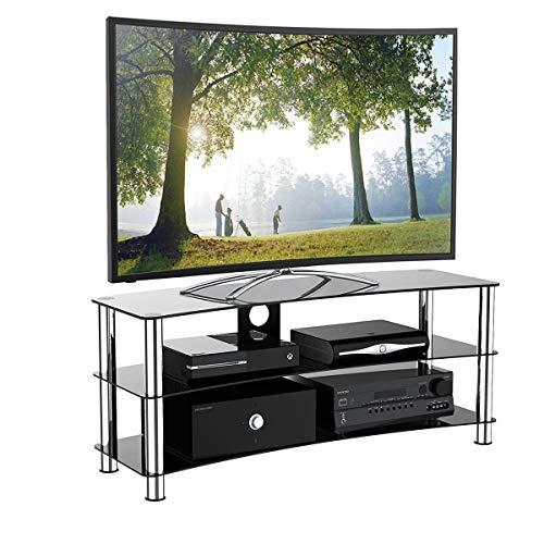 1home GT6 LCD-/Plasma-TV Rack Glas Tisch Ständer LCD Rack LED Tisch Fernsehtisch Schwarz Glas DREI Ablagen 32-70 Zoll - Schwarz Glas Plasma Tv-ständer