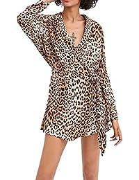 daf1ccdf517 Cooljun Damen Kleider Frauen Mode Lange Ärmel Kleid Leopard Print Langarm  asymmetrische Open Front Dandage Kleider Minikleid…
