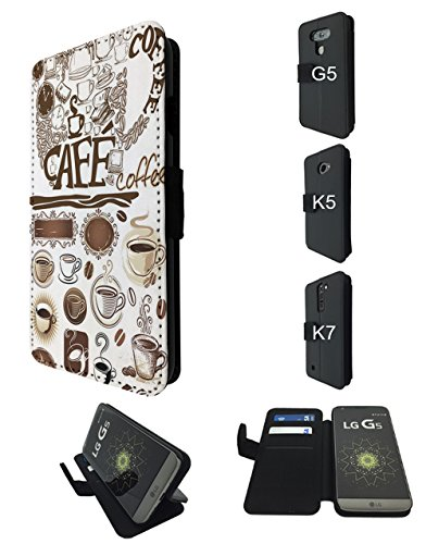002309 - Collage Coffee Mugs Coffee Beans Design LG V30 TPU Leder Brieftasche Hülle Flip Cover Book Wallet Stand halter Case (Coffee Bean-halter)