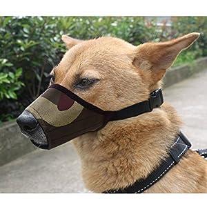 Kingnew chien Muselière Combinaison, réglable Chien Bouche Rabat de protection anti morsure aboie pour chien Muselière Mesh Masque (12cm, camouflage)