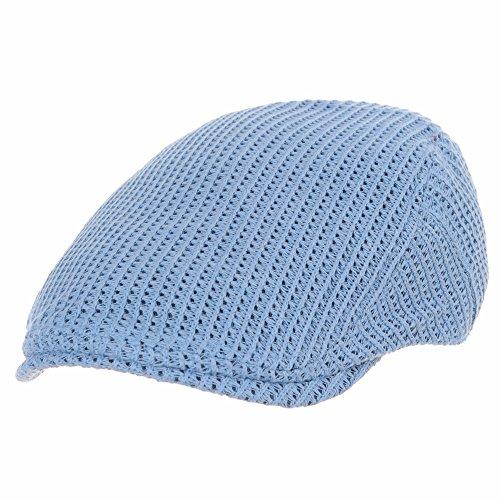 WITHMOONS Béret Casquette Chapeau Flat Cap Vintage Style Crochet Knitted Fabric Ivy Hat SL3412 Bleu