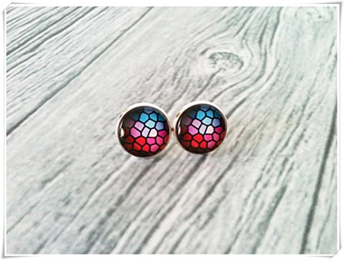 Blue and red mosaic earrings, stained glass pattern, Dome glass jewellery, pure handmade jewellery