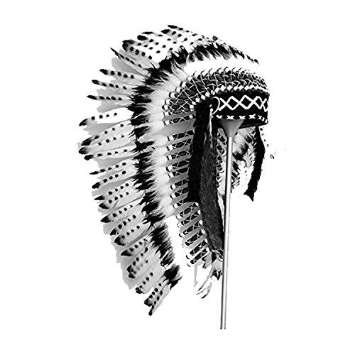 Y02 - Sombrero Indio mediano de color Blanco y Negro / penacho / tocado de plumas