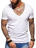 behype. Herren Kurzarm Basic T-Shirt Deep V-Neck 20-0005 Weiß M