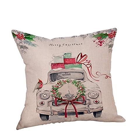 Vovotrade Reizendes Weihnachtsauto Leinenkissen Abdeckungs Wurf Kissen Kasten für frohe Weihnacht Dekoration (Solid Gold Taschenuhr)