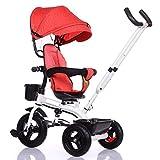 Kinder Dreiräder Fahrräder 1-3-6 Große Fahrrad Kinderwagen Fahrrad Für Männer Und Frauen Baby Trolley Mit Einem Zelt GAOLILI (Farbe : Rot)
