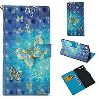 BoxTii Sony Xperia XZ Premium Case, Premium PU Leather Butterfly Pattern Cover with Free Tempered Glass Screen Protector for Sony Xperia XZ Premium (#1 Butterfly)