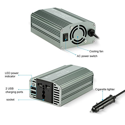 KKmoon Onduleur de Puissance Convertisseur de 500W 12V DC Vers AC 220V avec Adaptateur Chargeur USB Double prêt à acheter