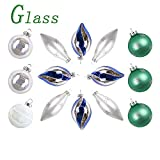 Valery Madelyn 14 Pezzi Christmas Baubles Set di Vetro Ice Blu Verde Argento Glossy Glassed Christmas Ornament with Snow Pattern Pendant Decorazioni per L'Albero di Natale Decorazioni Natalizie