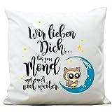 Wandtattoo-Loft ® Bedrucktes Kissen Niedliche Eule auf Mond mit Spruch
